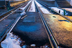 Railway construction with snow Royalty Free Stock Photography
