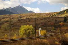 Railway in countryside. With Choc mountain in background, Liptov, Slovakia Stock Photography
