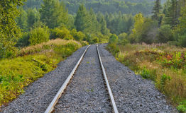 Railway in countryside in quebec Stock Photos