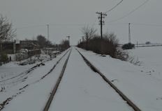 Railway covered with a lot of snow during winter royalty free stock photos