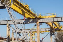 Railway crane. Crane beam on an industrial enterprise. stock images