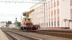 Railway crane for rails. Train stock video