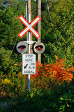 Railway crossing. The railway crossing warning sign Stock Photography