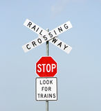 Railway Crossing. Stop, Look for Trains, Railway Crossing Royalty Free Stock Images