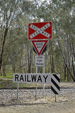 Railway. Railway crossing on a country road in Australia Stock Photo