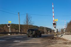 Railway crossing in the Czech Republic. Road crossing over the tracks. The inscription Royalty Free Stock Photography