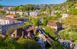 Railway crossing the Doubs river in Besancon Stock Photos