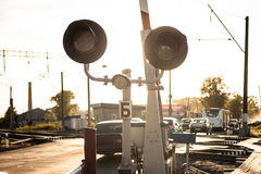 Railway crossing at hour Stock Images