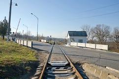 Railway crossing in Kerch Stock Photography