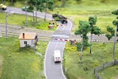 Railway crossing miniature Stock Image