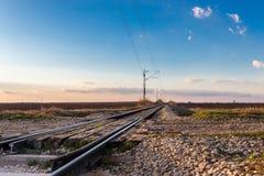 Railway crossing near Novi Sad in March, Serbia stock photos