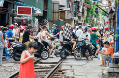 Railway crossing in the Old Quarter in Hanoi, Vietnam Royalty Free Stock Image