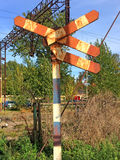 Railway crossing, old sign Stock Photos
