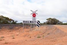 Free Railway Crossing On Dirt Track. Stock Image - 42532491