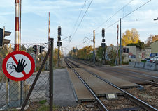 Railway crossing and prohibition sign forbidden passage Royalty Free Stock Photo