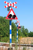 Railway crossing sign. Railway crossing without a gate or barrier - Saint Andrew's Cross Stock Photo