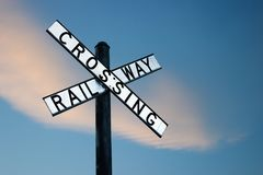 Railway crossing sign in Australia. Traditional old railroad / railway crossing sign, typical for Australia Royalty Free Stock Photo