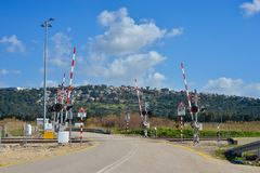 Railway crossing with signs on the rail road royalty free stock photos