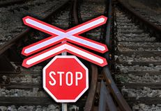 Railway crossing stop sign Stock Photography