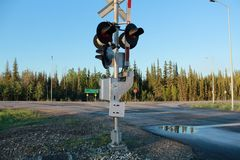 Railway crossing stop signal Alaska royalty free stock photos