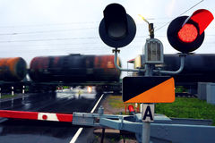 Railway crossing. Tanks with oil. Stock Images