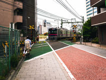 Railway crossing in Tokyo Stock Photography