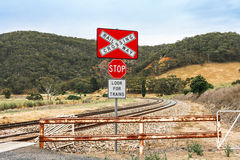 Railway crossing warning signs Stock Image