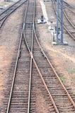 Railway crossway tracks Stock Photos