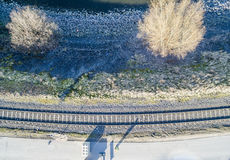 Railway curve track from above Royalty Free Stock Photo