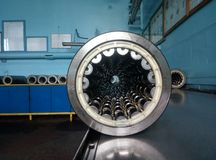 Railway cylindrical bearings for wheel pairs. View of a number of cylindrical bearings from the inside. Numerous videos are visible. Bearings are mounted on stock image