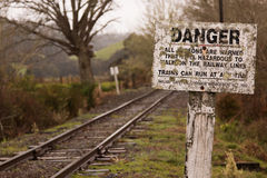 Railway with a danger sign, new zealand Stock Photography