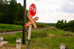 Railway.danger . stop. Railway. the old single-track. nature. the old railway Royalty Free Stock Image