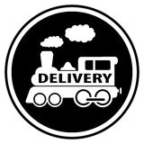 Railway delivery symbol with train Royalty Free Stock Image
