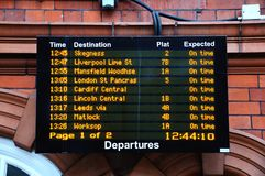 Railway departure board, Nottingham. Royalty Free Stock Photos