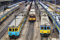 Railway depot. Trains at the depot in Poznan (Poland Royalty Free Stock Photography