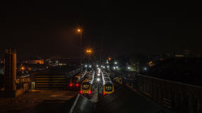 Railway depot by night. ENGLAND, BRISTOL - 21 APRIL 2015: Railway depot by night stock photography