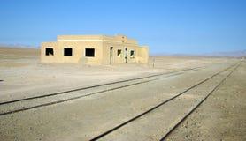 Railway in desert, Chile Royalty Free Stock Photos