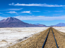 Railway in desert landscape, Bolivia Royalty Free Stock Image