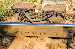 Railway detail with wood and steel Stock Photography