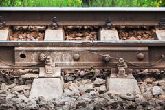 Railway details, rails joint with gap, closeup Royalty Free Stock Photo