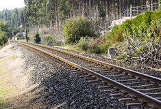 Railway in diagonal composition. In the nature stock photography