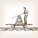 Railway draisine sketch style vector illustration Stock Photo