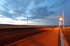 Railway at dusk Stock Photography