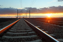 Railway at dusk Royalty Free Stock Photos