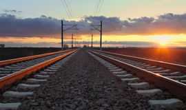 Railway at dusk Stock Image