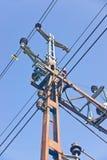 Railway electric overhead Stock Photo