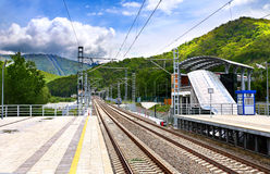 Railway of electric trains Stock Images