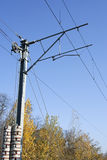 Railway electrified pole Royalty Free Stock Images