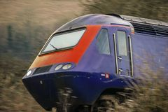 Railway engine at speed England United Kingdom royalty free stock photos
