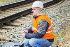 Railway Engineer working with tablet PC near railway Stock Photography